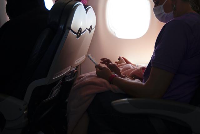 voyageur avec masque dans avion